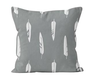 Gray Feathers Pillow Cover, grey pillow, gray pillow, rustic pillow, rustic decor, feathers decor, nursery decor, choose color
