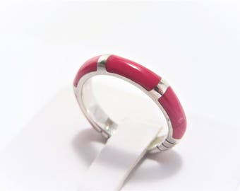 Vintage Sterling Carnelian Inlay Stacking Ring Size 7