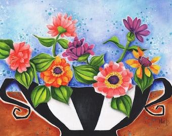 "Flowers Zinnias Whimsical Vase Original painting Art  16"" X 12""  colorful Bouquet Gift Home Decor Deb Harvey Floral"