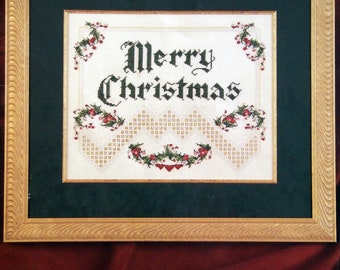 Merry Christmas By Emie Bishop And Cross 'N Patch Vintage Hardanger Embroidery And Cross Stitch Pattern Leaflet 1995