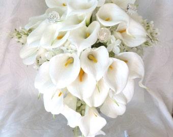 Calla lily lilacs and hydrangea wedding bouquet all white bridal bouquet