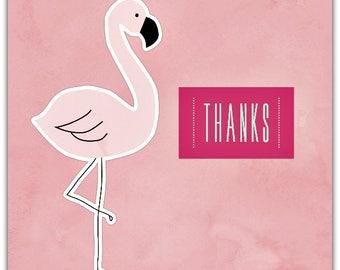 Thanks Flamingo Pink handmade 15cm x 15cm