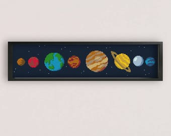 Cute Solar System Cross stitch Pattern / PDF Pattern / xstitch chart / solar system cross stitch / space cross stitch pattern / PixlStitch