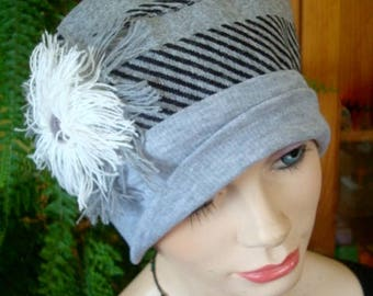 womens winter hat lightweight tartan grey white black  tartan chemo hat soft hat headcover