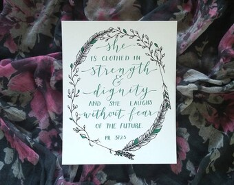 Proverbs 31:25 Print 8x10 Strength and Dignity