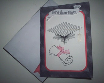 Stitched graduation card with matching envelope.