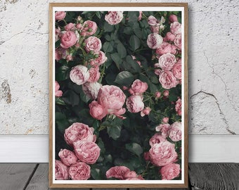 Roses Print - Pink Wall Art, Digital Download, Pink Roses,  Boho decor, French Country, Shabby Chic, Floral Printable, Flower Poster, Blush