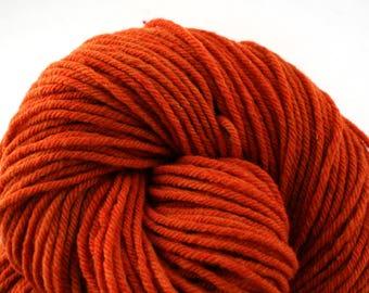 Hand Dyed Aran weight mini Empire Rambouillet Wool 213 yds 4oz Vermillion