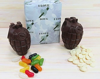 Valentines Chocolate, two milk chocolate grenades with jelly beans and white buttons