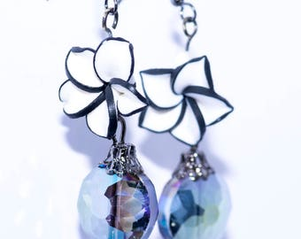 Black and White Flower with Drop Blue Round Bead