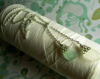 HALF PRICE Lasso A Seahorse - white aqua seaglass necklace / lariat necklace glass / seaglass necklace / aqua necklace / eco friendly