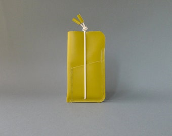 phone cover with card slot - mustard leather & ecru elastic strap - iPhone