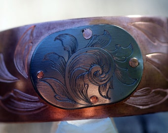 Autumn Leaves CuTi Cuff, Hand Engraved, Hand Made