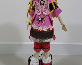 Pinky Lady - Handmade Fofucha Dolls, Girl doll, Gift love doll