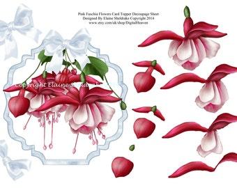 Fuschia Flowers Decoupage Card Topper Sheet