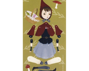 Clearance - Little Red Riding Hood - Articulated paper doll print - oversized