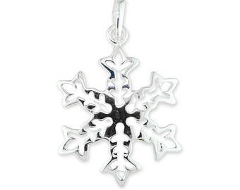 Solid Sterling Silver Snowflake Winter Snow Necklace