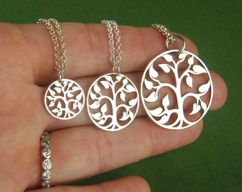 Tree of life necklace in sterling silver, family tree, sterling silver tree charm, sterling silver tree necklace, nature, mother's day