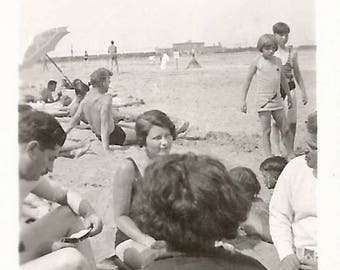 "Vintage Photo ""Beachgoers"" Asian-Inspired Beach Coverup Mini-Photo Found Vernacular"