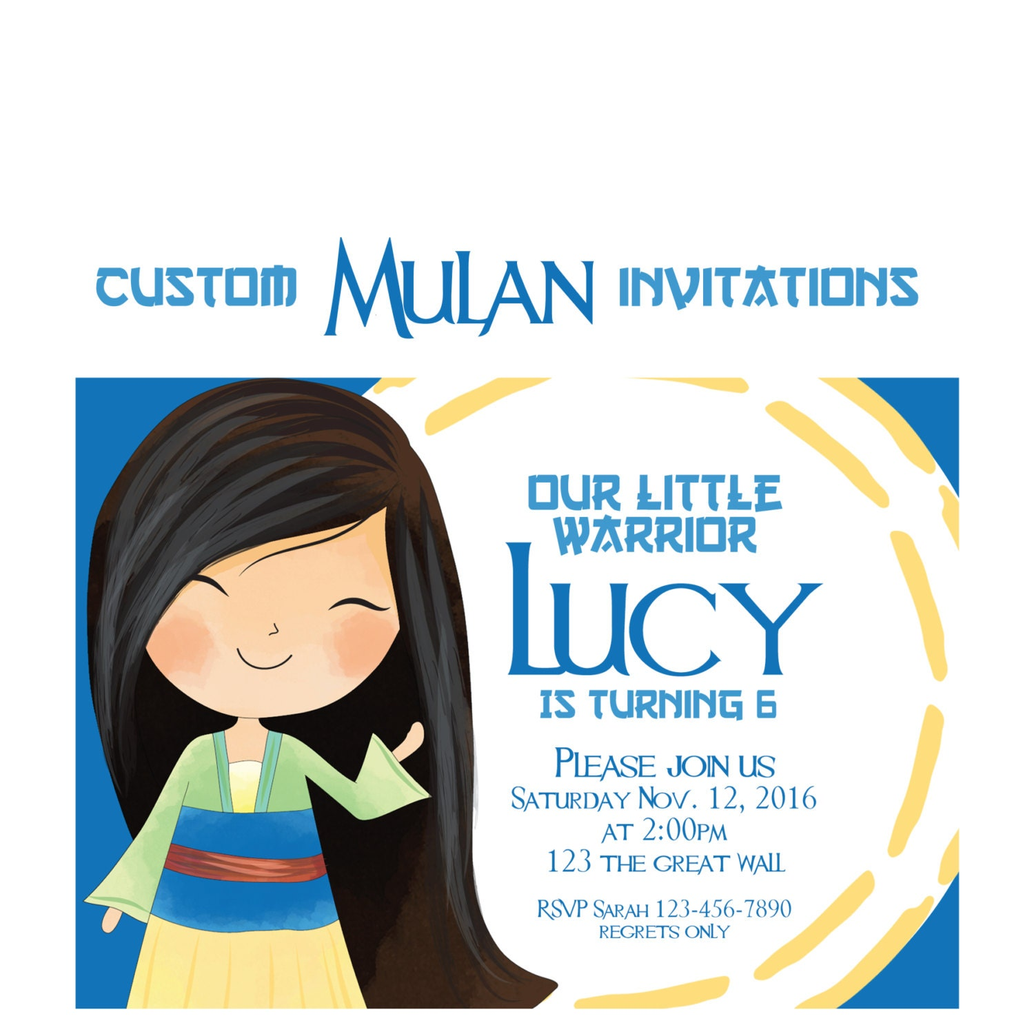 Mulan Party Invitation Custom Mulan Birthday Invites Disney