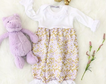 Lilac and Gold Dot Baby Girl Going Home Outfit | White Eyelet Ruffled Baby Gown | Lilac and Gold Sparkle Ruffled Baby Girl Newborn Gown