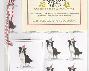 Border Collie Christmas wrapping paper. collie gift wrap. collie wrapping paper. border collie gift wrap. christmas paper. border collie