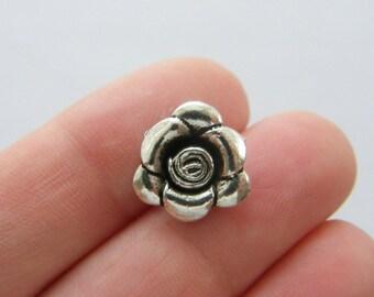 6 Rose charms tibetan silver F97
