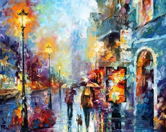 Rain Painting City Artworks Cityscape Art Work On Canvas By Leonid Afremov -  Melody Of Passion