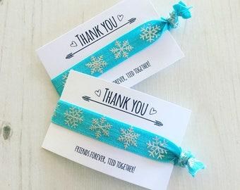 Frozen party thank you favours / snowflake hair tie / wristband - Elsa