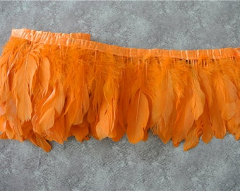googe feather fringe trim 5-7inch wide 2 meters of orange color