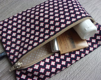 """makeup / multi purpose pouch """"Sabine"""". Fabric patterns and polka dots / / shades Navy Blue and red, beige"""