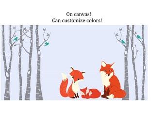 fox nursery on canvas fox nursery decor forest nursery birch tree with fox woodland animal woodland wall art