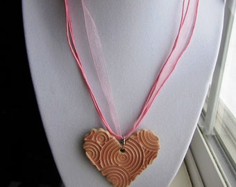 Light Pink Heart Pendant Necklace