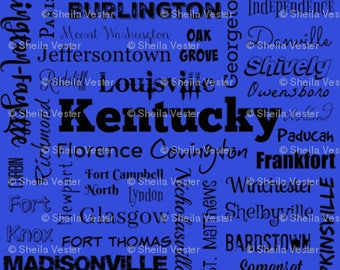 Kentucky fabric - KY cities typography fat quarter - FQ - blue or gray