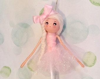 Ballerina doll ornament pink tutu blonde hair doll vintage inspired ballet recital gift art doll dancer