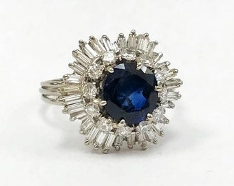 Vintage 1960's Sapphire and Diamond Ballerina Ring - 14 karat white gold