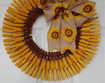 Wreath: Sunflower Clothespin