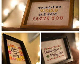 Your words immortalized in cross-stitch, custom designed for you! Custom 4x6 or 5x7 sampler-style cross-stitch pieces (made to order)