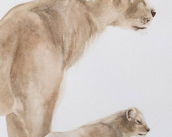 baby lion cub painting nursery art print of lion painting for her for him watercolor peek a boo SEE PHOTOS to view all 15 PRINTS 11x14