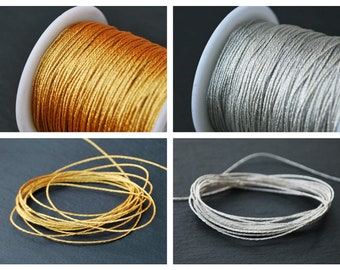 10 meters - Metallic String, GOLD and SILVER, 0.60mm, 0.80mm, 1mm, braided cord, very good quality