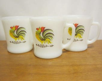 Vintage Anchor Hocking Fire King Chanticleer Rooster Coffee Mug Rare 1960's Pattern Fire King D Handle Coffee Mugs Set Of Three