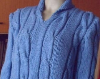 Open neck braided sweater hand Made