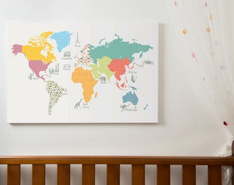 Kids room poster etsy world map print childrens world map play room map size a1 a2 a3 gumiabroncs Gallery