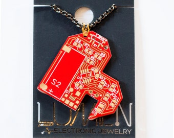 Red and gold sweetheart chipped circuit board heart necklace.  Item 3204-10