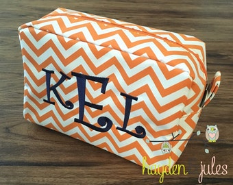 Orange and Navy Monogrammed Chevron Cosmetic Bag