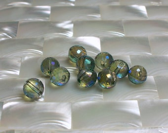 10pcs 8mm Chinese Crystal Green Glass Beads Round Top Drilled Micro faceted Jewelry Jewellery Craft Supplies Fancy