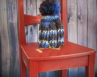 READY TO SHIP-Crochet hat baby, blue, brown, beige/pompom hat/woolen cap/baby boy gift/baby gift/baby shower gift/hand made/ready to ship