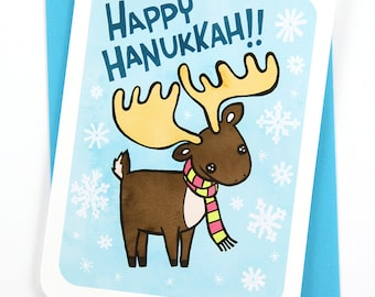 Happy Hanukkah Moose Menorah Card- Holiday Notecard, Cute Hanukkah Card, Funny Hanukkah Card, Moose Hanukkah, Animal Hanukkah Gifts under 10