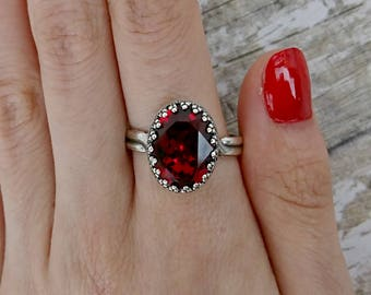 Marilyn Large Stone Princess Swarovski Crystal Ring