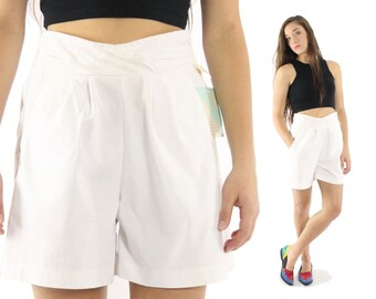 Vintage 80s High Waisted Shorts NOS White Cotton Pleated Elastic 1980s Sailor Nautical Medium M Justin Allen